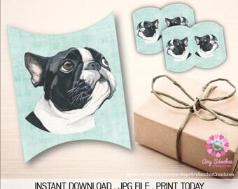Printable Frenchie Watercolor Pillow Box - Pillow Box Frenchie - JPG File - Printable Pillow Box