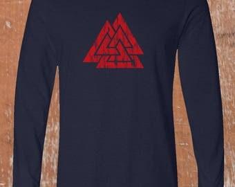 Odins Valknut. A Handprinted Viking Long Sleeve T-shirt Shipped Worldwide. Nordic Heathen Symbol in Asatru. Unique Norse Mythology  Tees