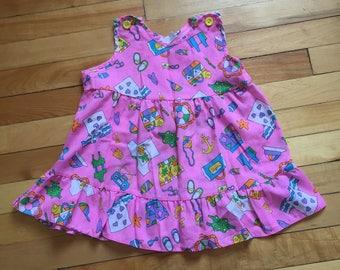 Vintage 1980s Baby Infant Girls Pink Beach Sun Dress! Size 12-18 months