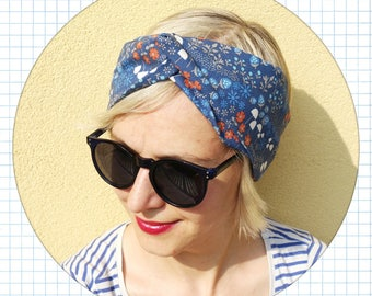 cotton headband , women cotton turban, intersect headband, cotton hair band, summer headband, light blue floral headband