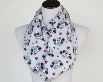 Mickey Mouse scarf, gray infinity scarf toddler infant & adult scarf mickey lovers loop scarf matching scarf for mom little girl and boy