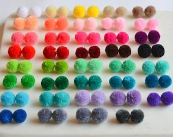 Pom Poms, Jewelry Pom Poms, Pom Pom Ball, 22mm Pom Pom Supplies, High Quality, Pom Pom Earrings, CHOOSE YOUR COLOR,Assort,Pack of 10,DE7105B