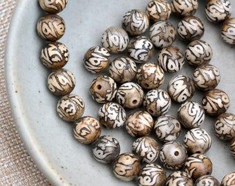 Etched Shell Tibetan Beads, Om Mani Padme Hum Mantra Beads, Om Beads, Tibetan Prayer Beads, Mala Beads, Mala Making,  Pack of 12, MPM171114A