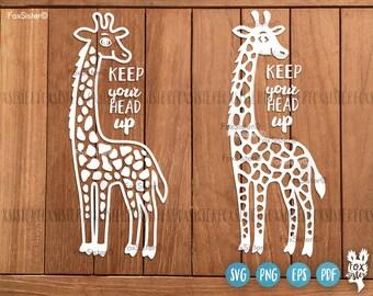 Happy Giraffe SVG Papercut Template | giraffe cut file | Funny svg | Africa | Animal | Paper Cut file heat transfer | for Cricut, Silhouette