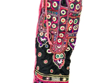 YOGA bag - Hand embroidered traditional banjara stitching with a kantha quilt back