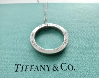 Authentic Tiffany Co. Sterling Silver Round Circle 925 T & Co 1837 Size Large Pendant Chain Necklace