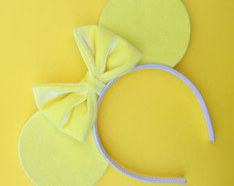 Sunshine Yellow Velvet Mouse Ears