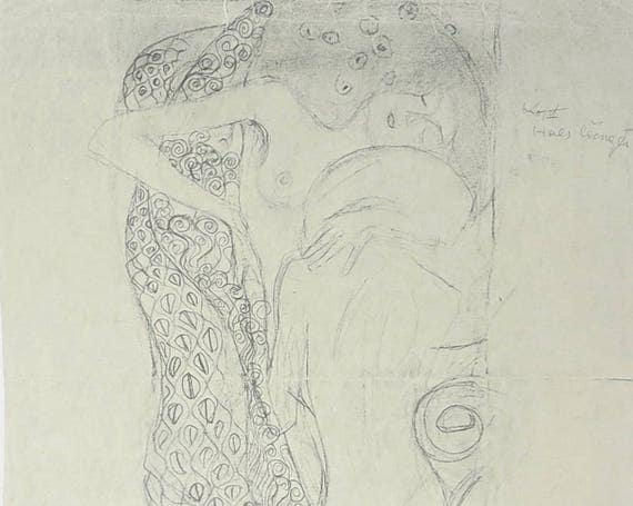 Large Gustav Klimt print of black pencil and charcoal drawing of two nude women embracing, 9 x 14 inches, 23 x 35.5 cm, published 1980