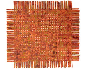 Orange Paper Weaving- Handpainted Paper Art- 17x14- Colorful Abstract- Orange, Yellow Ochre, Burnt Orange