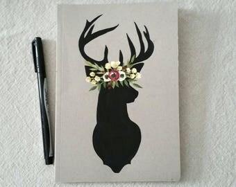 Floral deer silhouette - hand painted notebook