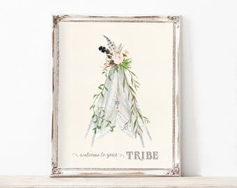 Tribal Boho Lace Tipi Teepee Artwork Digital Print Lace Cream Vintage Drawing Nursery Baby Shower Little Girl Play Room Female Your Tribe