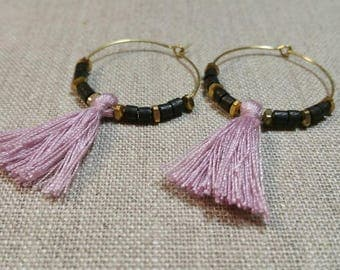 Dark Brown Bone and Pink Tassel Brass Hoop Earrings / Tribal Earrings / Boho Chic / Minimalist / Geometric - ETHP01BR