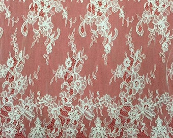 off white Chantilly Lace fabric, Cored Chantilly Lace Fabric, 59inches Wide for Veil, Dress, Costume, Craft Making-7178C