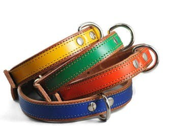 Rouxie light brown leather dog collar, 100% leather, with stitching and a decorative leather stripe, 2 cm wide