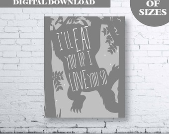 Where the Wild Things Are Printable Wall Art - Instant Download. Where the Wild Things Are Nursery Print. I'll Eat You Up I Love You So Art