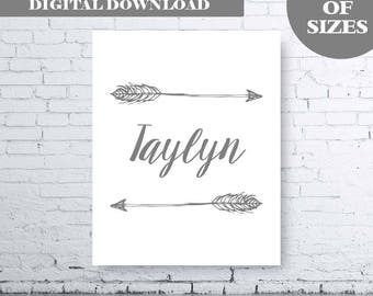 PERSONALISED ARROW NAME printable art.  Instant Digital Download. Boy Name Art. Girl Name Art. Arrow Name Art. Boys Bedroom.  Girls Bedroom