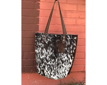 Limited Edition LARGE TOTE Hair-On Speckled Henna Brown • Leather Everyday Bag