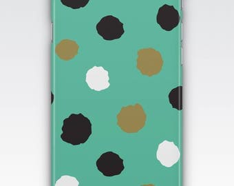 Case for iPhone 8, iPhone 6s,  iPhone 6 Plus,  iPhone 5s,  iPhone SE,  iPhone 5c,  iPhone 7 - Turquoise and Gold Polka Dot Case