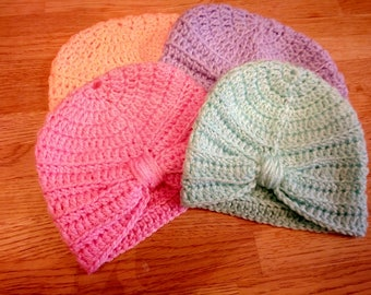 Handmade Crochet Turban Hat Preemie/Premature/0-3 Mths 3-6 Mths Many Colours