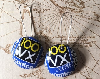 Upcycled 35mm film cassette drop earrings - Konica