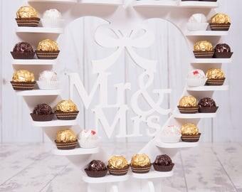 White PVC Mr & Mrs Ferrero Rocher Heart display stand pyramid - Wedding, party