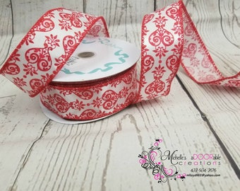 Wired Ribbon - Valentine Heart Wired Ribbon - Red Velvet Hearts Ribbon