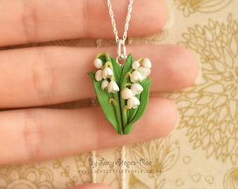 Hand Sculpted Lily of the Valley Pendant and Chain
