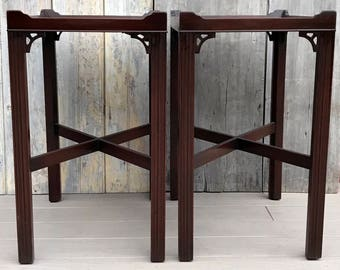 Vintage Pair of Dunbar Wormley Mahogany Chinese Chippendale Side Tea Tables 1940 **FREE SHIP**