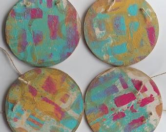 Wood Ornament Set Christmas Ornaments Abstract Wood Art Abstract Art Painted Wood Ornaments One of a kind ornaments Gold ornaments