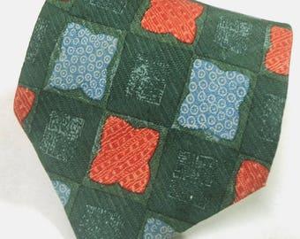 1A Classe Alviero Martini Checks Pattern Multi Color Silk Necktie Tie
