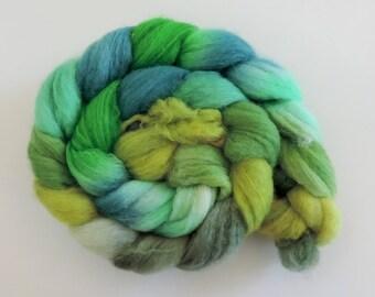 BFL sw Nylon,Green Dragon, handgefärbte Fasern zum Spinnen,100g Kammzug, Sock Blend