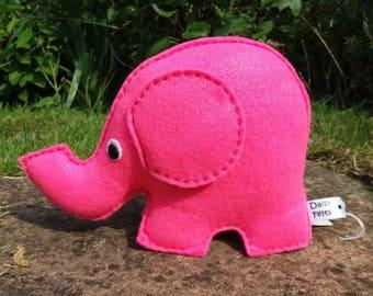 Felt Elephant, Toy Elephant, CE Tested, Soft Toy, Elephants, Pink, Childrens, Boys, Girls, Nursery, Baby Shower