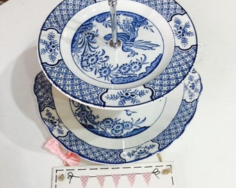 2 tier cake stand china vintage blue willow style pattern wedding / party / christening / baby shower / Mother's Day