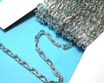 50% OFF Clearance Sale-- Silver Tone Flat Cable Chains Link-Opened 3x4mm(No.377)