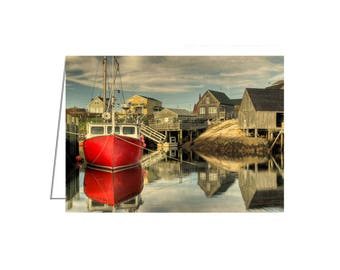 5 PACK - The Red Boat, Peggy's Cove, Nova Scotia - Greeting Card