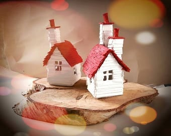Little Scandinavian Houses - Scandi Inspired Recycled Cardboard House Models with Multi Chimneys - Set of 2 in Red and White - READY TO SHIP