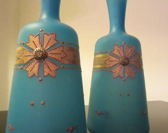 French Blue Opaline Glass Gilt Decorated Jeweled Tone Vases