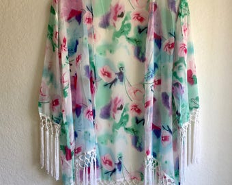 Floral pattern kimono, with trimming, cardigan, beach cover up,  Light Summer Jacket, Clothing Boho Chic, Swimsuit Cover up, Unique Clothing