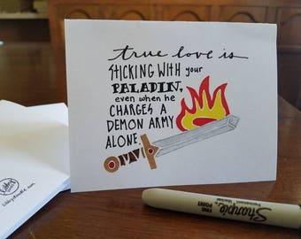 RPG true love: Paladin - hand-doodled card
