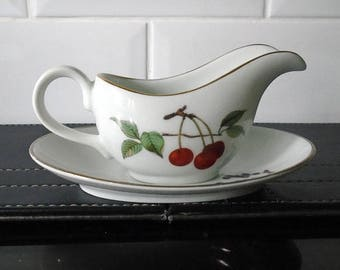 Royal Worcester Evesham Mint Sauce Jug and Stand