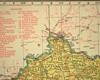 Kentucky Map of Kentucky Railroad Vintage 1940s Yellow
