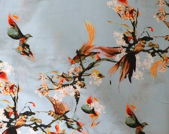 Fabric - Lady McElroy -Pale blue oriental birds - 100% cotton lawn - woven fabric