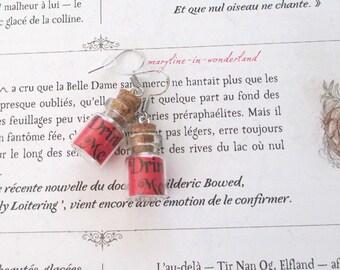 """Vial earrings """"drink me"""" red Alice in Wonderland country"""