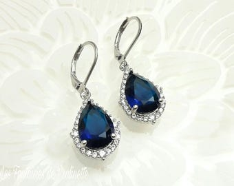 Boucles d'oreilles mariage bleu saphir, boucles d'oreilles gouttes strass, bijoux mariage cristal, boucles d'oreilles mariées zircons