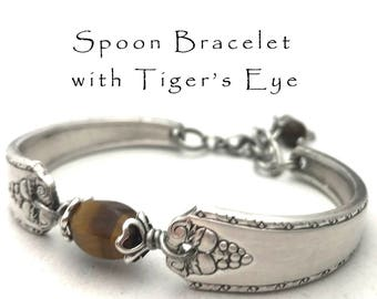 Spoon Bracelet with Tiger's Eye, Recycled Silverware Bracelet Bordeaux Silver Plate Tigers Eye Stone Jewelry, Silver Spoon Gifts Under 40