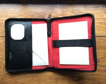 Vintage 1970s leather writing case, small tablet, authentic vintage black leather case.
