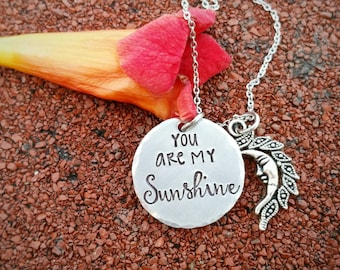 You are my sunshine necklace, wife necklace, gift for her, gift for daughter, sun necklace, love necklace, mother's necklace, gift for mom