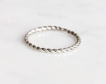 Stackable Ring | Silver Stacking Ring | Thin Gold Ring | Dainty Rings [Twist Ring]