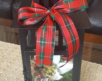 Christmas Lantern Arrangement, Lantern Holiday Arrangement, Lantern Centerpiece, Pinecone Arrangement, Christmas Decor, Black Lantern