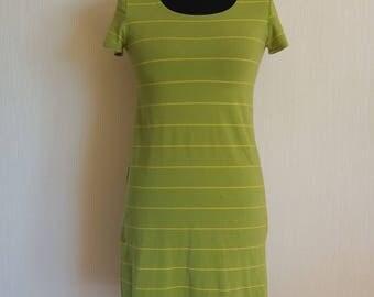 Vintage Marimekko Light Green With Yellow Stripes Dress Size S